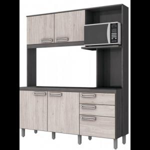 Cozinha Compacta Briz - Gris/ Palha